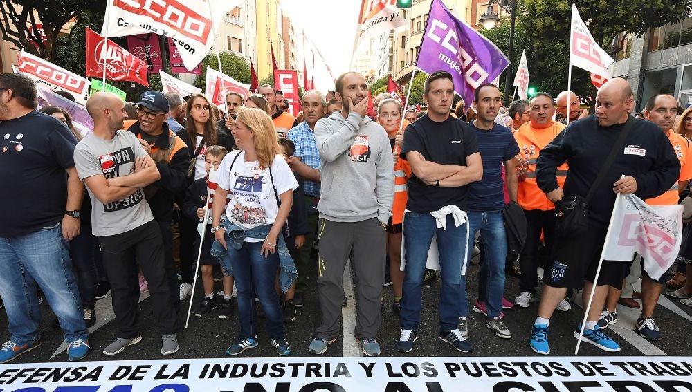 Manifestación en contra del cierra de Vestas