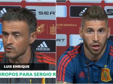 Luis Enrique y Ramos en rueda de prensa