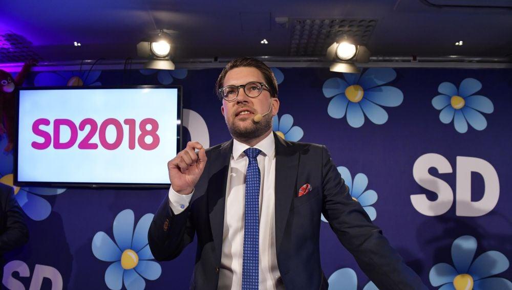 El líder del ultraderechista Demócratas de Suecia (SD), Jimmie Åkesson