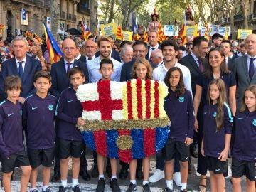 Ofrenda floral del FC Barcelona en la Diada