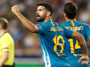 Diego Costa celebra el 1-1 en el Louis II de Mónaco