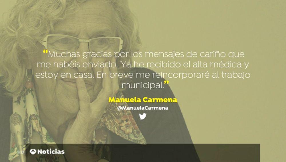 Carmena recibe el alta hospitalaria tras la caída sufrida en su casa