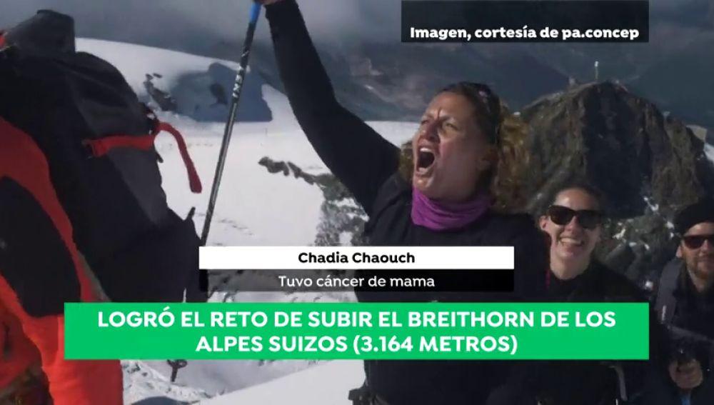 Chadia Chaouch tuvo cáncer de mama y ha logrado el reto de ascender al Breithorn de los Alpes suizos