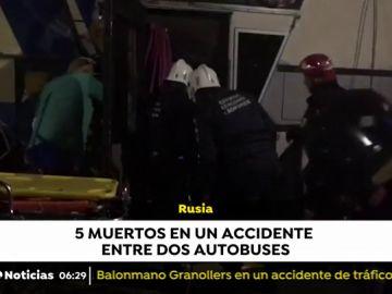 Cinco personas mueren en un accidente entre dos autobuses en Rusia