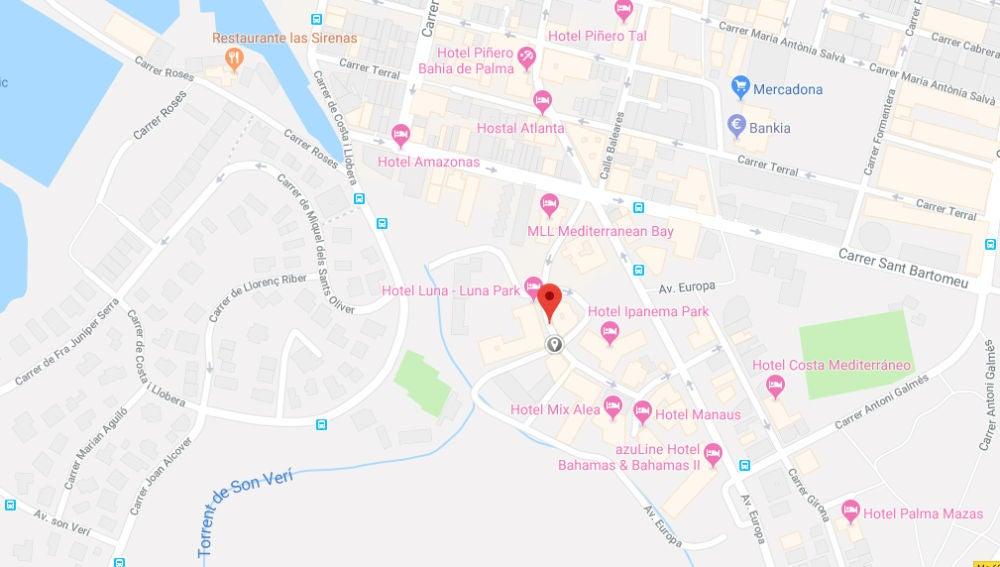 Mapa de la zona en la que se encuentra ubicado el hotel