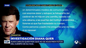 El padre de Diana Quer pide a 'Espejo Público' que no se muestren las fotos del cuerpo sin vida de su hija