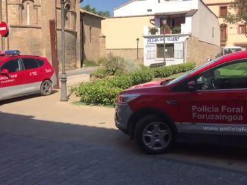 Despliegue policial en Sangüesa por el funeral de las víctimas de Cáseda