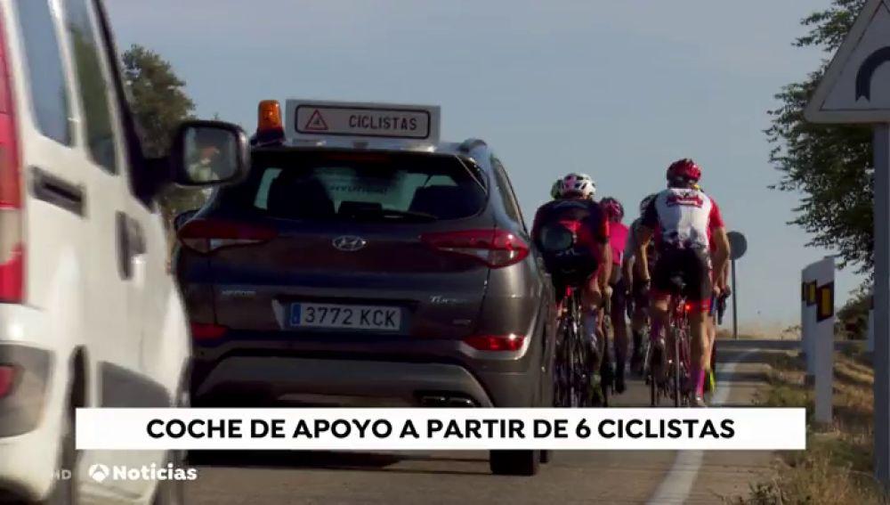 Coche de apoyo a partir de seis ciclistas