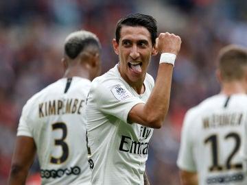 Di María celebra un gol con el PSG