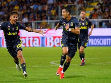 Cristiano celebra el primer gol de la Juventus
