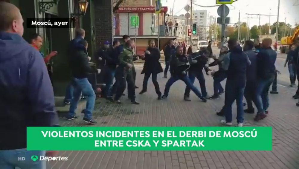 Violenta pelea entre radicales del CSKA y el Spartak en Moscú