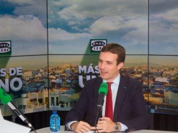 Pablo Casado durante su entrevista con Carlos Alsina en Onda Cero