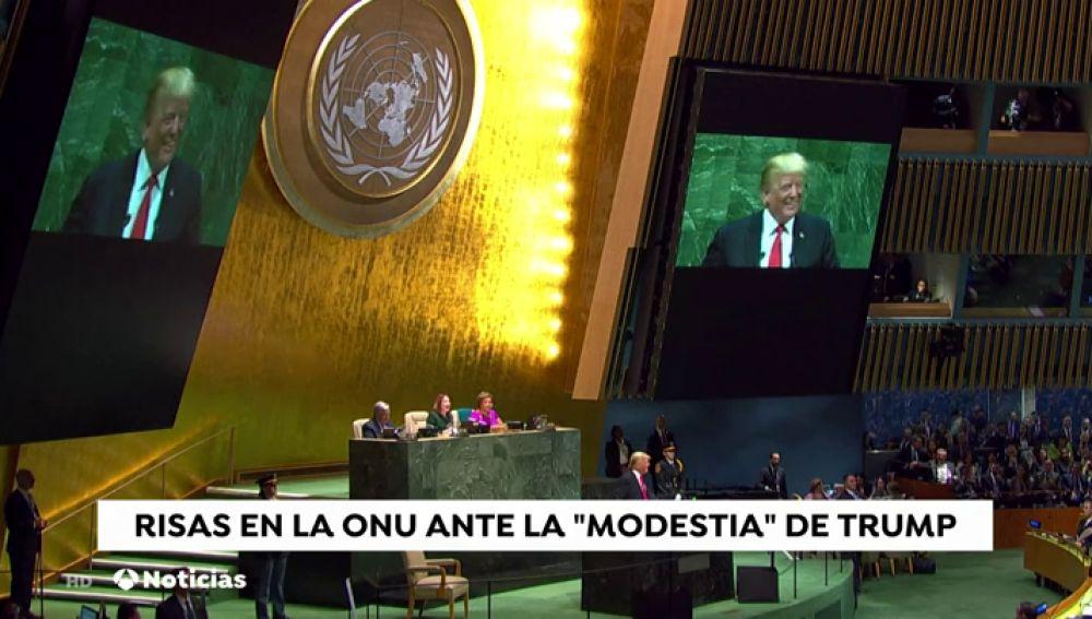 """Insólito murmullo y risas en la ONU después de que Trump iniciara su discurso afirmando que ha logrado ya """"más que casi cualquier administración en la historia de EEUU"""""""