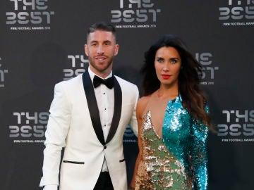 Sergio Ramos y Pilar Rubio durante los premios The Best