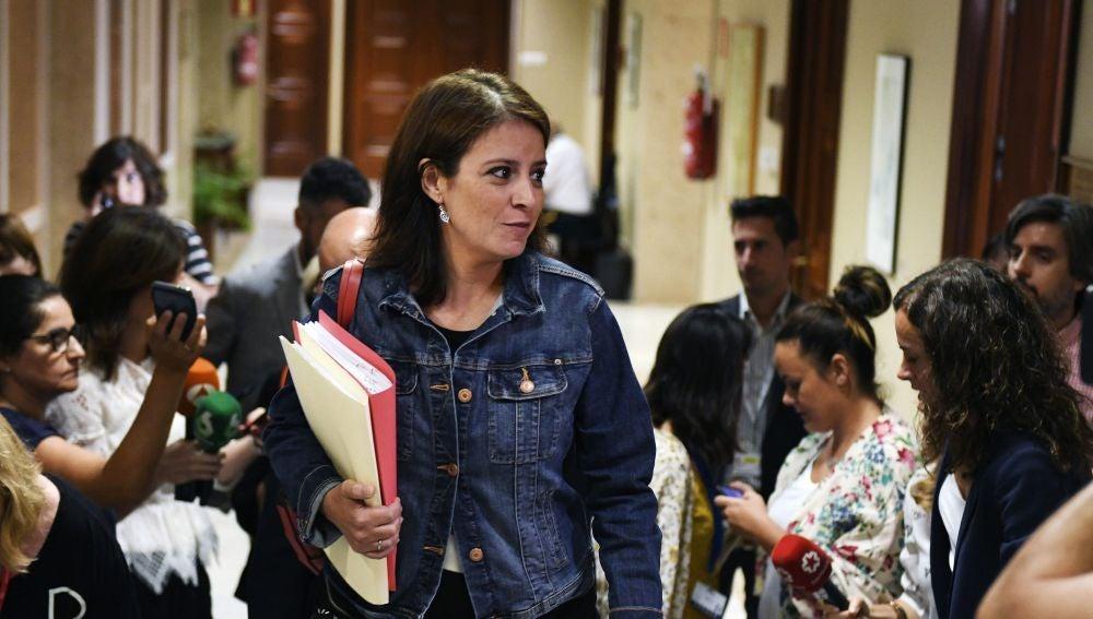 La portavoz del grupo socialista en el Conreso de los Diputados Adriana Lastra