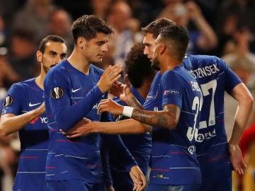 Morata celebra uno de sus tantos con el Chelsea