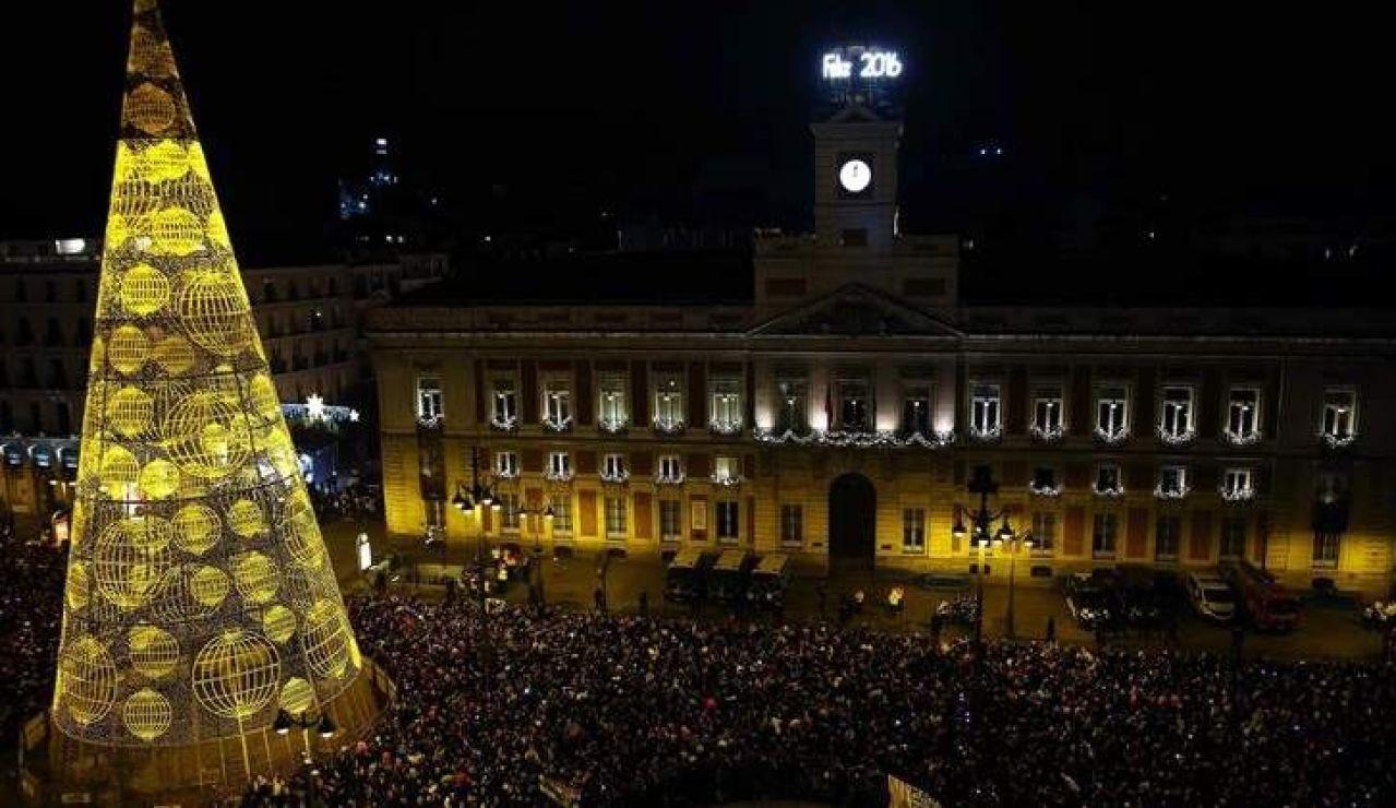 La Puerta del Sol durante las campanadas de fin de año