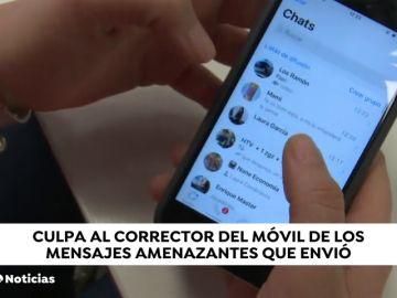 Un hombre echa la culpa al corrector de whatsapp de las amenazas que mandaba a su mujer