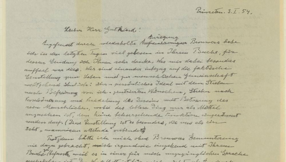 Carta de Albert Einstein escrita en 1954