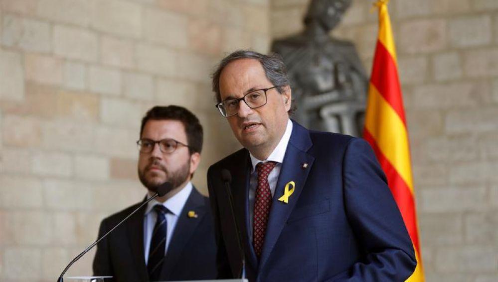 Quim Torra y Pere Aragonès en rueda de prensa