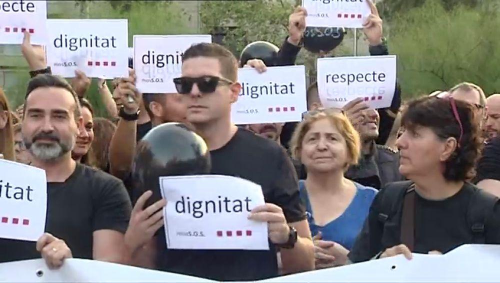 Mossos d'Escuadra se manifiestan en Bareclona para protestar por el dispositivo del 1-O