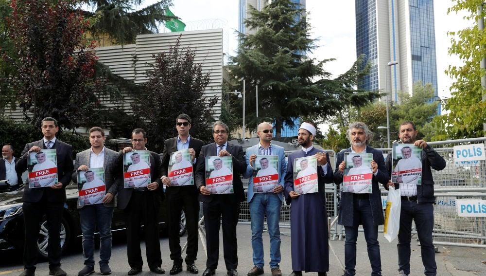 Manifestación para pedir la libertad del periodista Jamal Khashoggi