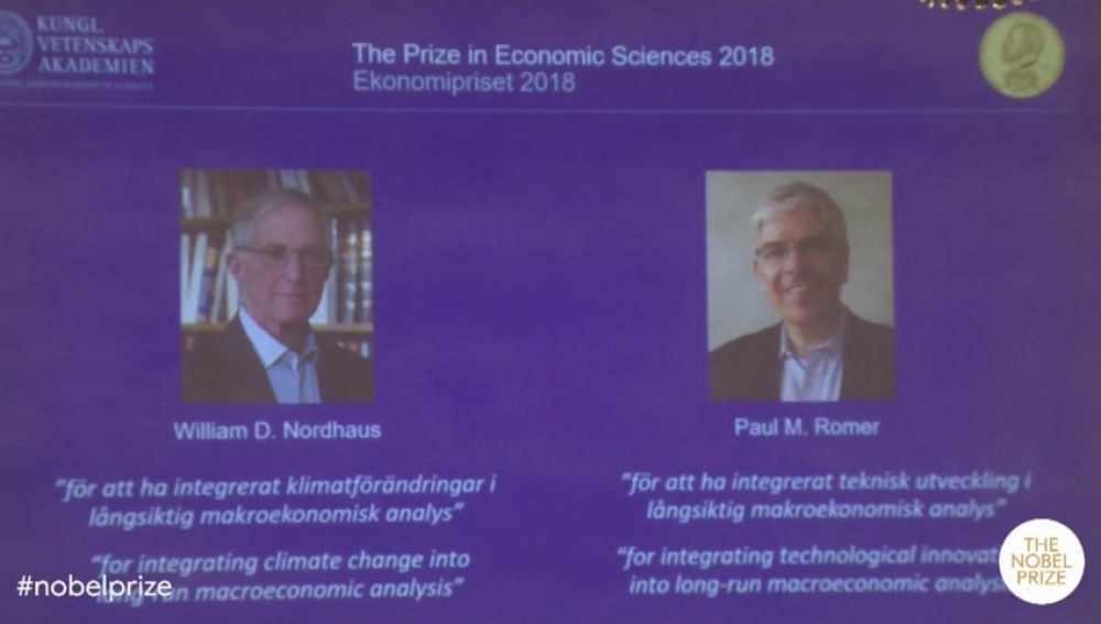 William Nordhaus y Paul Romer, premio Nobel de Economía