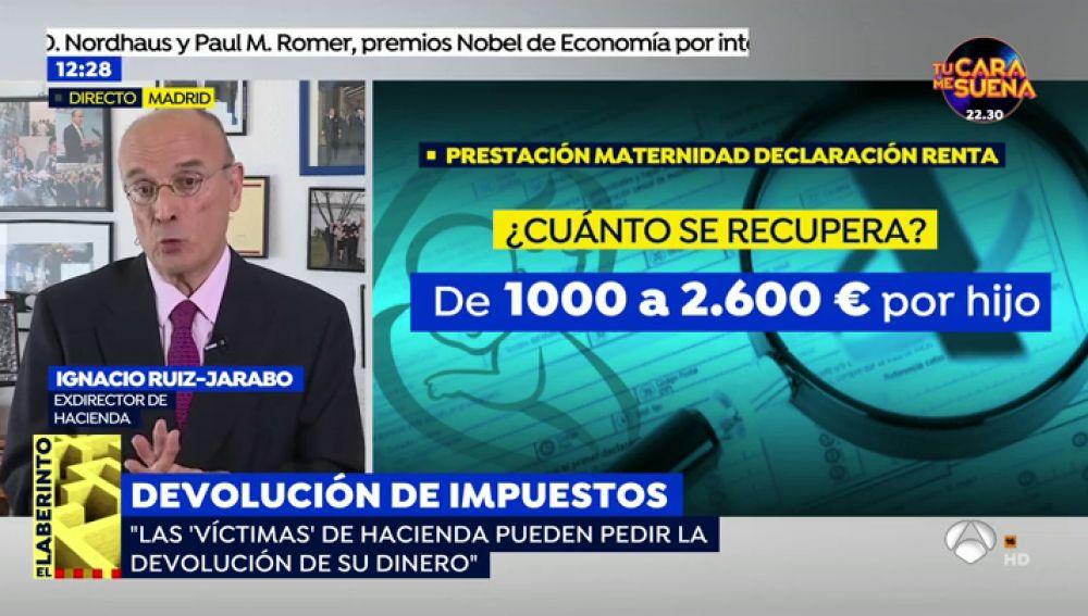 Ignacio Ruiz-Jarabo, exdirector de Hacienda, explica los pasos para solicitar la devolución del IRPF de la prestación de maternidad