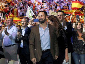El presidente de Vox, Santiago Abascal, durante el acto que la formación