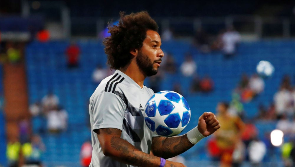 Marcelo, jugador del Real Madrid, antes de un partido de Champions