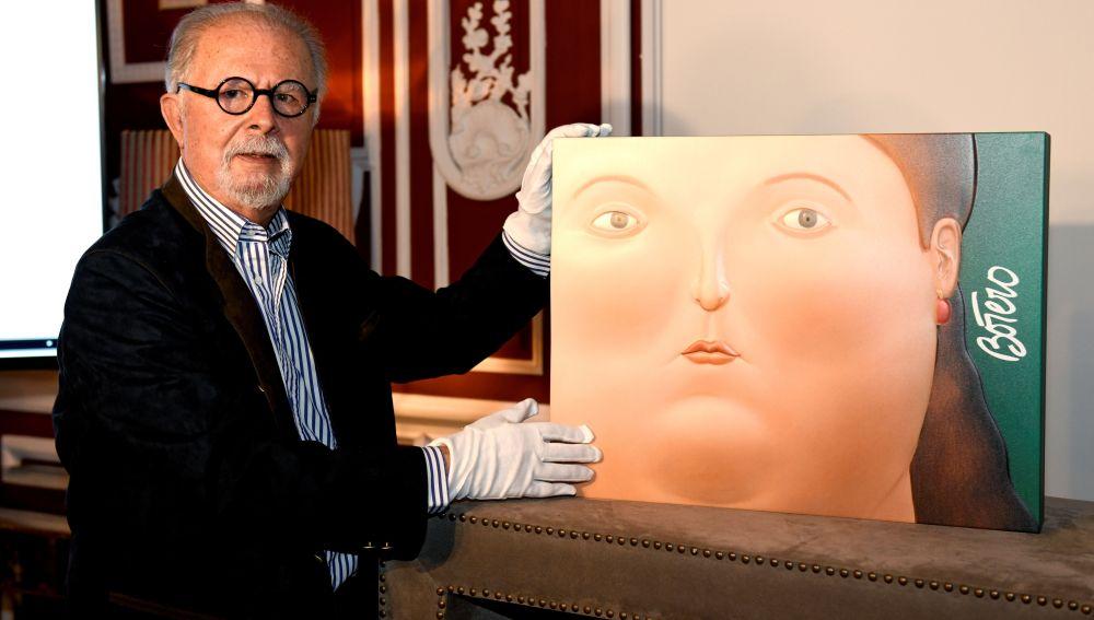 Fernando Botero en la presentación de su nueva obra