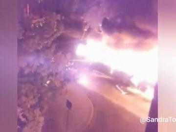 Un autobús se incendia en Leganés