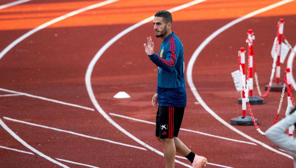 Koke, durante un entrenamiento de la Selección