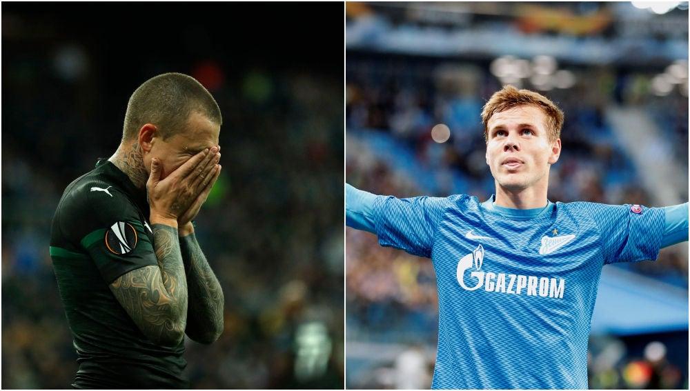 Los futbolistas rusos Mamaev y Kokorin