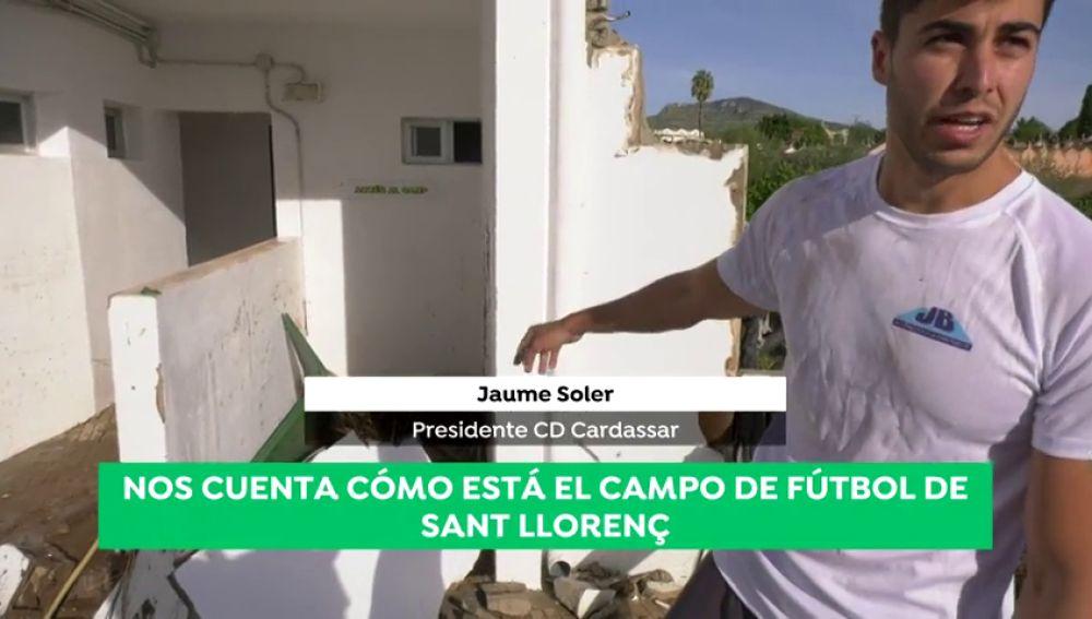 """El presidente del C.D. Cardassar nos cuenta cómo está el campo de fútbol del Sant Llorenç: """"El agua llegó al techo en los vestuarios"""""""