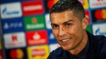 Cristiano Ronaldo, en rueda de prensa en Old Trafford
