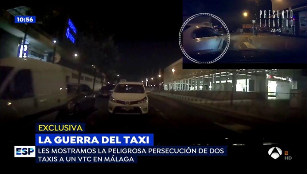 Las impactantes imágenes de la persecución de dos taxis a un VTC