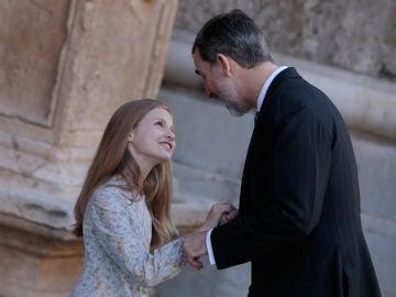 La Princesa Leonor junto a su padre