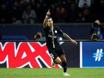 Di María celebra su gol ante el Nápoles