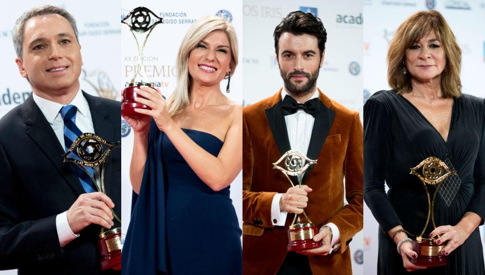 Vicente Vallés, Sandra Golpe, Javier Rey y Sonia Martínez, ganadores de los Premios Iris
