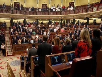 Imagen del minuto de silencio en el Congreso
