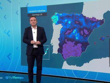 Temperaturas en descenso generalizado y muy acusado en la Península y Baleares