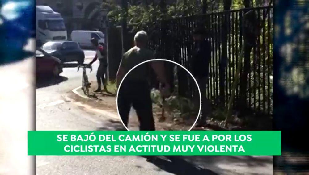 """Investigan al conductor de un camión que atacó con un martillo a dos ciclistas: """"Salió con todas las ganas de agredir"""""""