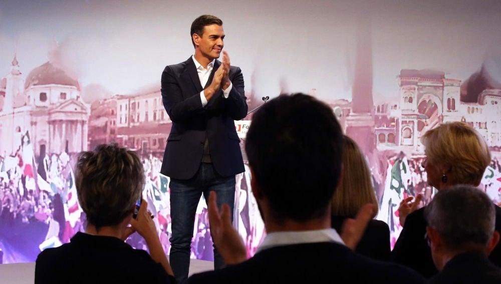 Pedro Sánchez en un acto del Partido Democrático de Italia