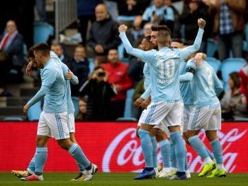 Iago Aspas celebra un gol ante el Eibar