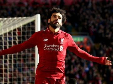 Salah celebra un gol con el Liverpool