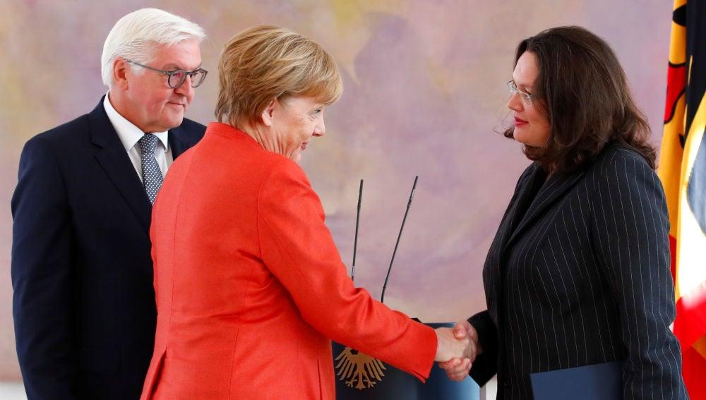 Angela Merkel y la líder del SPD, Andrea Nahles