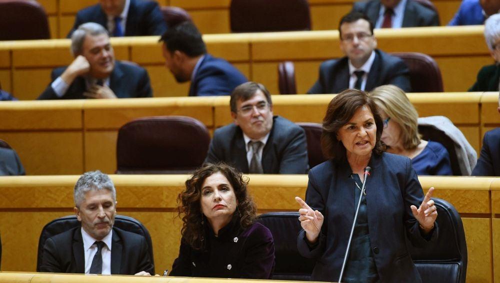 La ministra Carmen Calvo en el Senado
