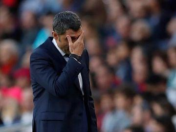 Ernesto Valverde, en el Camp Nou