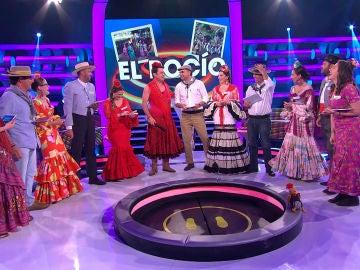 """VÍDEO: Los concursantes de '¡Ahora Caigo!' vienen directos de la romería de El Rocío: """"¡Viva la Blanca Paloma!"""""""